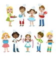 Kids On Cooking Lesson vector image