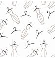 Doodle dresses and hangers seamless pattern vector image