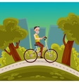 elderly man with a beard riding bicycle vector image