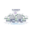 flat line design hero image- beach house vector image