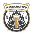 handcrafted beer brewery retro sign vector image