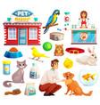 pet shop decorative icons set vector image