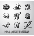 Set of freehand HALLOWEEN icons -pumpkin witch vector image