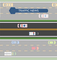 traffic news icon with road lines and transport vector image vector image