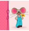 mouse with flower vector image vector image