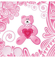 Valentines day card cute pink bear with heart vector image