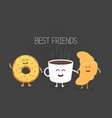 best friends coffee croissant and donut character vector image