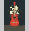 music poster folk ornament guitar concept vector image