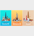 travel posters to europe america asia vacation vector image