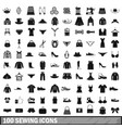 100 sewing icons set simple style vector image