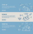 hand drawn business infographic horizontal banners vector image