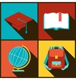 Background with education icons in flat design vector image