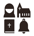 Nun church bible and bell icons vector image