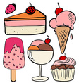 Set of ice cream and cakes vector image vector image
