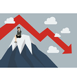 Business woman stuck on a top hill vector image vector image