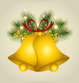 christmas background with gold bells vector image