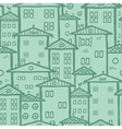 Doodle town houses seamless pattern background vector image