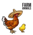 ginger chicken with chick and sombreros vector image