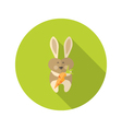 Rabbit with Carrot Flat Icon vector image