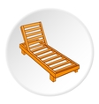 Wooden chaise lounge icon cartoon style vector image