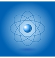 Orbital model of atom on blue background vector image
