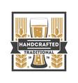 handcrafted traditional beer retro logo vector image