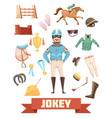jockey ammunition decorative icons set vector image