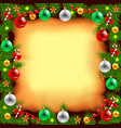 Decorated Christmas tree branches on paper vector image vector image