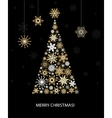 Fir tree from golden snowflakes vector image
