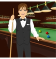 handsome man holding cue stick vector image vector image