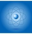Orbital model of atom on blue background vector image