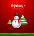 Merry Christmas Snowman and green tree vector image vector image