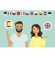 Couple speaking different languges vector image vector image