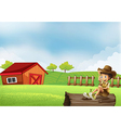 A boy at the farm sitting in the wood with a vector image
