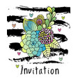 hand drawn hipster flower invitation card cover vector image