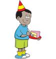 Cartoon boy eating cake vector image