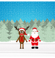 Christmas reindeer and Santa Claus vector image
