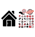 Closed House Door Flat Icon with Bonus vector image