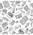 fast food seamless pattern in doodle style vector image