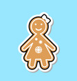 ginger bread girl icon cute christmas cookie vector image