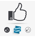 Like sign icon Hand finger up symbol vector image