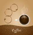 Coffee with Stain on Brown Background vector image