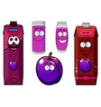 Plum juice and fruit cartoon characters vector image vector image