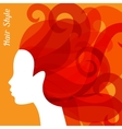 Woman silhouette with curly hair on bacground for vector image vector image