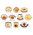 Bakery shop signs sets of bread pastry desserts vector image