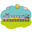 Children train with farm animals vector image