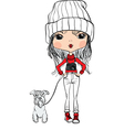 girl with a dog and a camera vector image