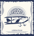 label design - vintage poster airplane vector image