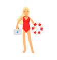 lifeguard girl character in a red swimsuit holding vector image