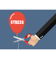 Big hand cutting stress balloon string with vector image